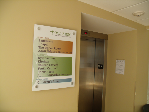 Directional Acrylic Sign with Aluminum Standoffs