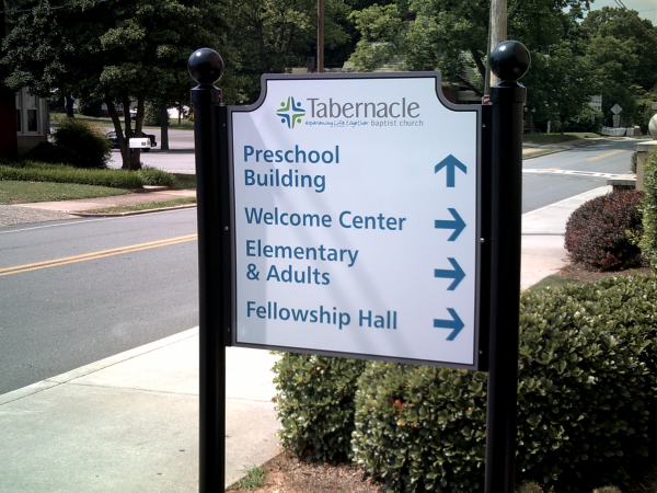 Church Directional Sign Post & Panel