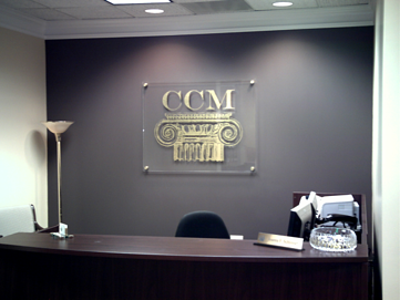 Lobby Sign with Gold Leaf Vinyl on Acrylic Panel with Standoffs