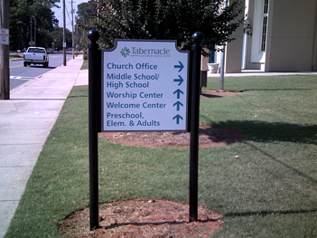 Church Directional Post and Panel Sign