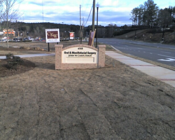 Faux Brick Monument Sign to Match Brick Building