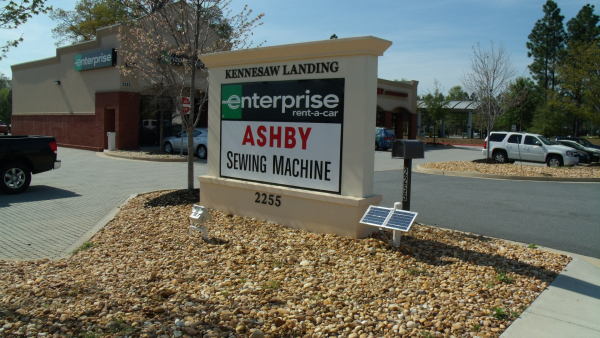 Monument Sign with Solar Lighting