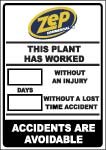 Zep Lost Time Accident Safety Sign