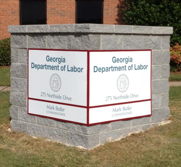 Georgia Department of Labor Stone Monument Sign
