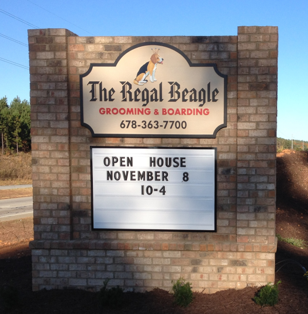 Brick Monument Sign with HDU Panel and Readerboard