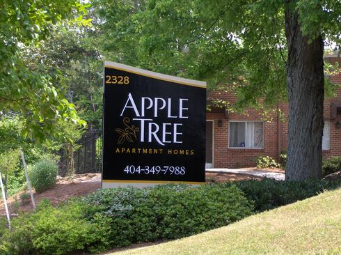 Apartment-Entrance-Sign-Apple-Tree