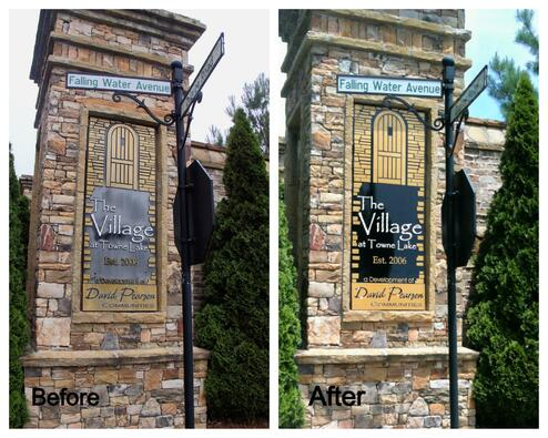 Subdivision Sign before & after Painting
