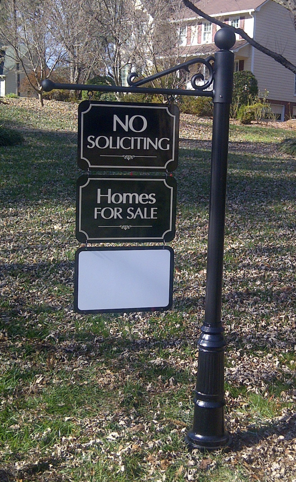 Neighborhood No Soliciting Post Sign
