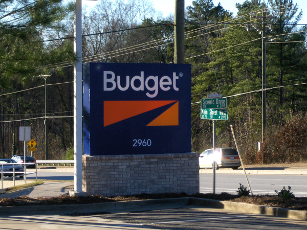 Internally Lighted Monument Sign with Brick Base - Budget