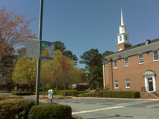 Double Pole Banner - Church Parking Lot