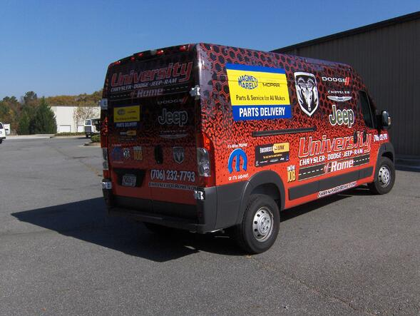 Auto Dealership Shuttle and Parts Vehicle Graphics for Atlanta