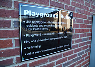 Apartment Amenity Signs: Playground Signs Georgia